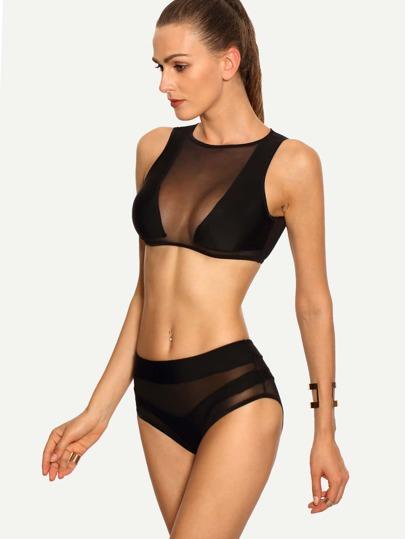 Mesh Insert Sleeveless Rash Guard Swimwear - Black