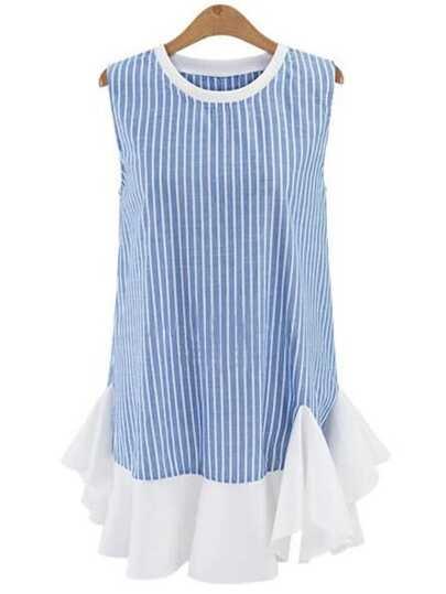 Ruffled Hem Vetical Striped Shift Dress - Blue