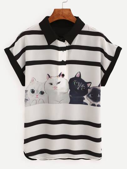 Contrast Trim Cat Print Striped Chiffon Blouse