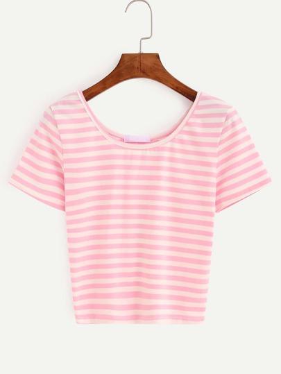 Pink Striped Crop T-shirt