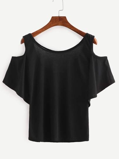 Чёрная футболка с открытыми плечами
