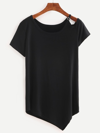 Cutout Shoulder Asymmetric T-shirt - Black