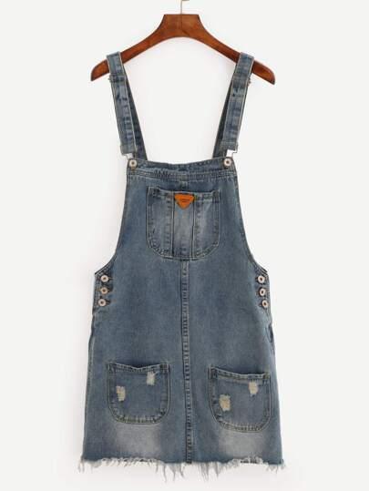 Pocket Front Raw Hem Overall Denim Dress - Blue