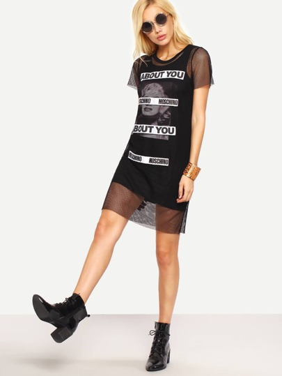 Printed Tank Dress With Mesh Cover-Up - Black