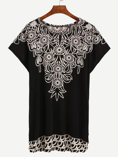 Flower Print Loose-Fit Dress - Black