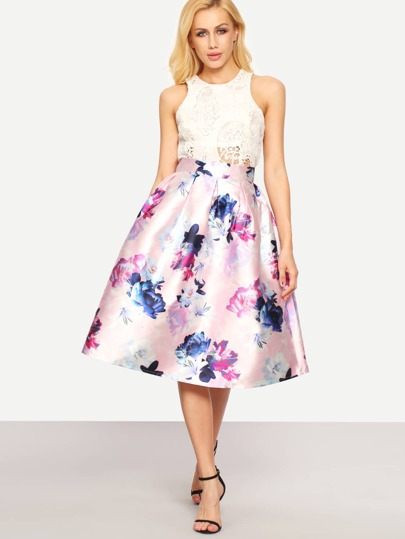 Flower Print Box Pleated Midi Dress - Pink