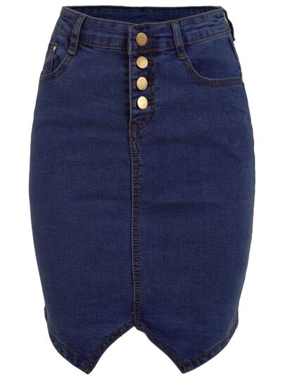 Buttoned Fly Denim Pencil Skirt - Blue