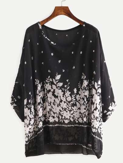 Flower Print Chiffon Poncho Blouse - Black