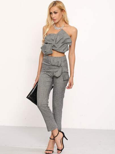 Oversized Bow Bandeau Top With Pants - Grey