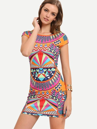 Multicolor Print Cap Sleeve Bodycon Dress