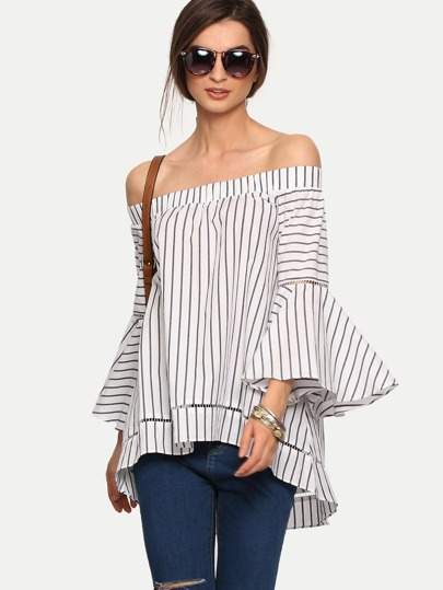 Bardot Bell Sleeve Vertical Striped Blouse