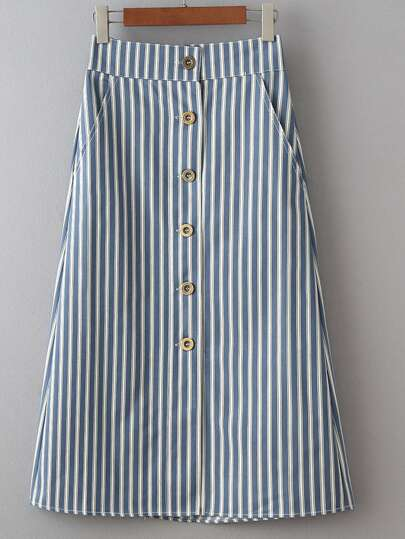 Multicolor Pockets Buttons Front Stripe Skirt
