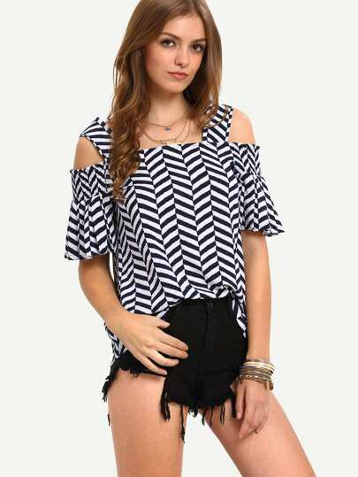 Multicolor Half Sleeve Cold Shoulder Stripe Blouse