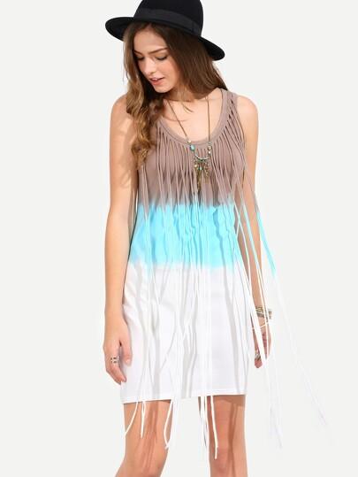 Multicolor Sleeveless Fringe Sun Dress