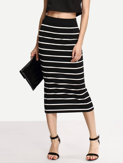 Black White Stripe Split Midi Skirt