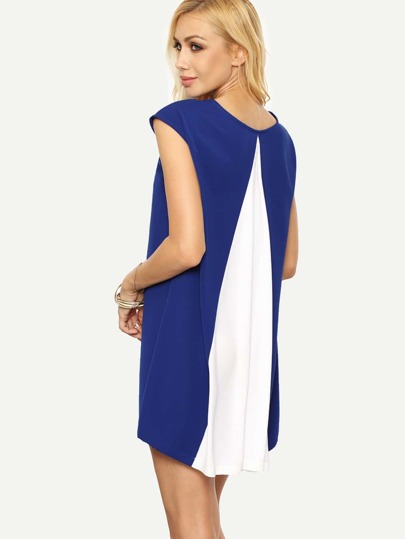 Multicolor Cap Sleeve Shift Dress