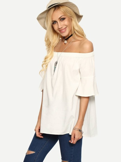 Fluted Sleeve Bardot Blouse