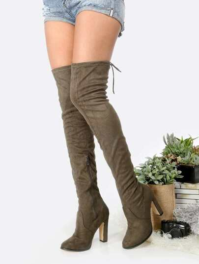 Tie Back Faux Suede Chunky Heel Boots OLIVE
