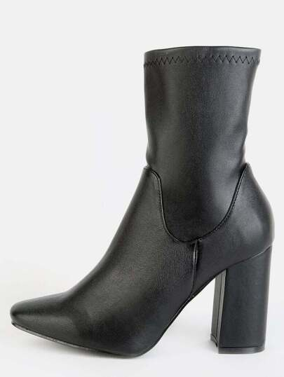 High Shaft Chunky Heel Ankle Booties BLACK