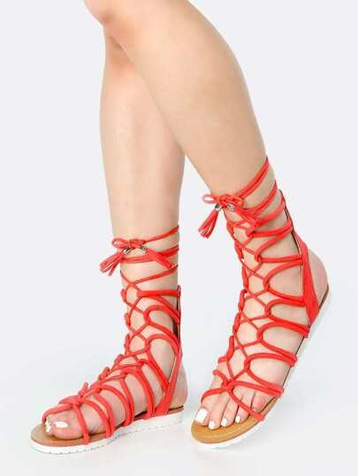 Lace Up Open Toe Gladiator Sandals HOT CORAL