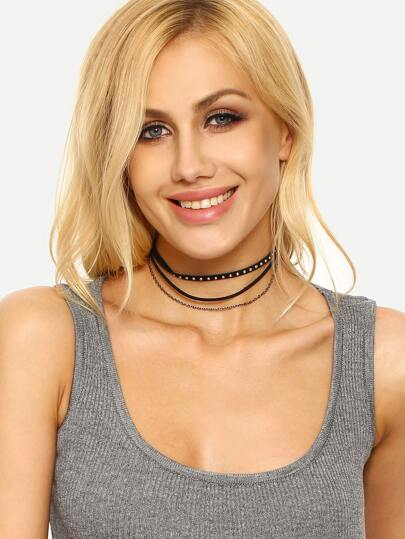 Multi-layer Studs Embellishment Choker Necklace