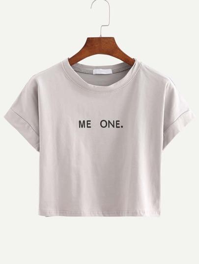Kurzarm Crop T-Shirt Rundhals mit Buchstaben Druck