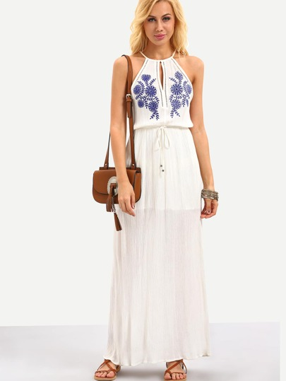 Keyhole Halter Neck Drawstring Waist Embroidered Dress - White