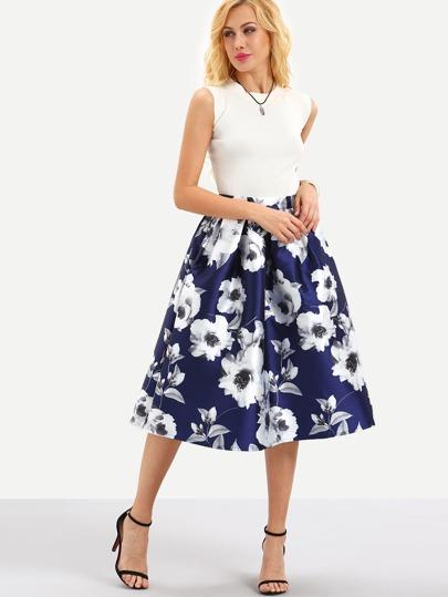 Flower Print Box Pleated Midi Skirt - Blue