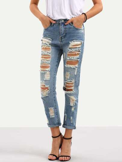Distressed Blue Straight Jeans
