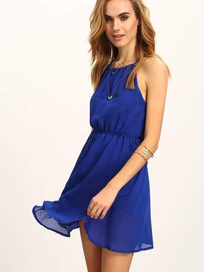 Halter Neck Keyhole Back Skater Dress - Blue