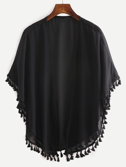 Tassel Trimmed Plain Chiffon Kimono - Black