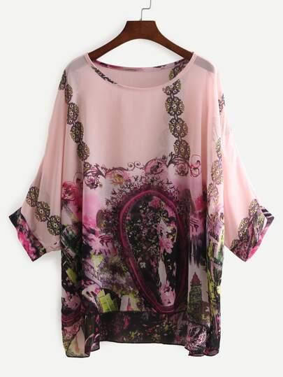 Pink Bat Sleeve Florals Chiffon Shirt