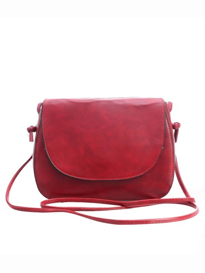Faux Leather Magnetic Closure Saddle Bag - Burgandy