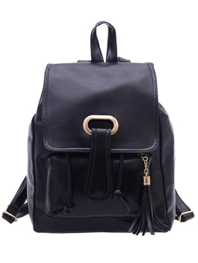 Faux Leather Tassel Embellished Flap Backpack - Black