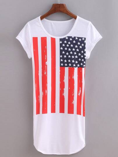 Stars And Stripes Print Tee Dress - White