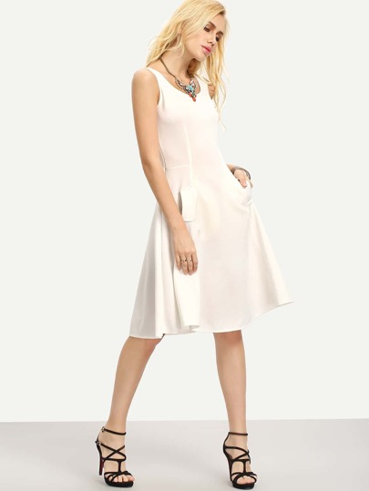 Fit & Flare Tank Dress With Side Pockets - White