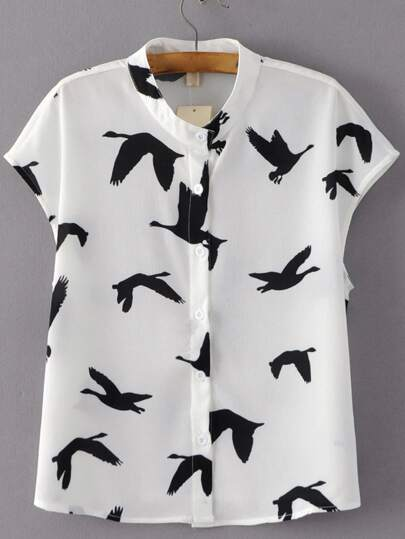 Black White Cap Sleeve Birds Print Blouse
