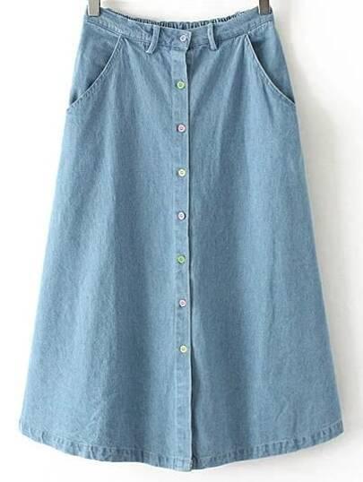 Blue Elastic Waist Buttons Front Denim Skirt