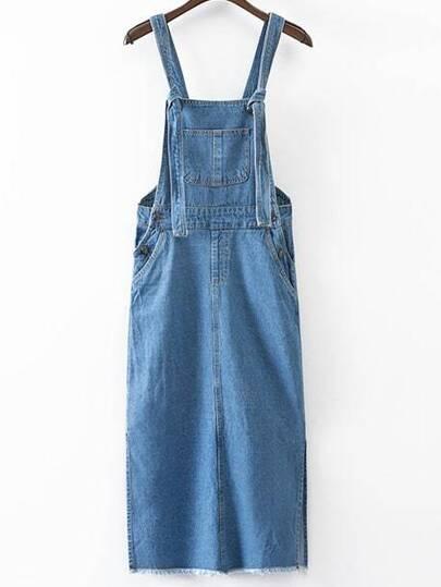 Blue Pockets Fringe Trim Split Side Denim Strap Dress