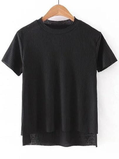 Black Dipped Hem Short Sleeve Rib T-shirt