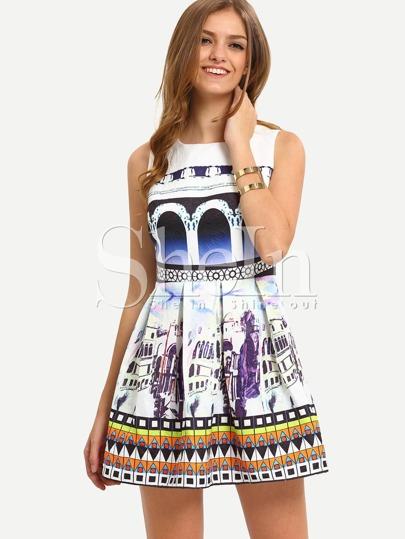 Multicolor Sleeveless Pleated Print Dress
