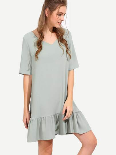 Green V Neck Half Sleeve Ruffle Shift Dress