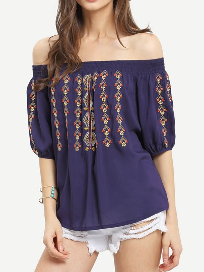 Deep Blue Off The Shoulder Embroidered Blouse