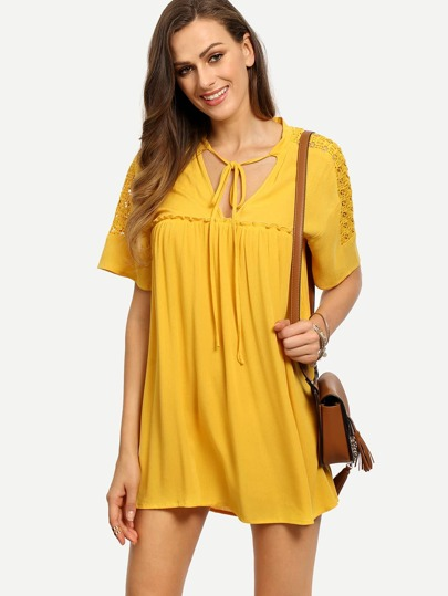 Deep Yellow Tie Pleated Shift Dress