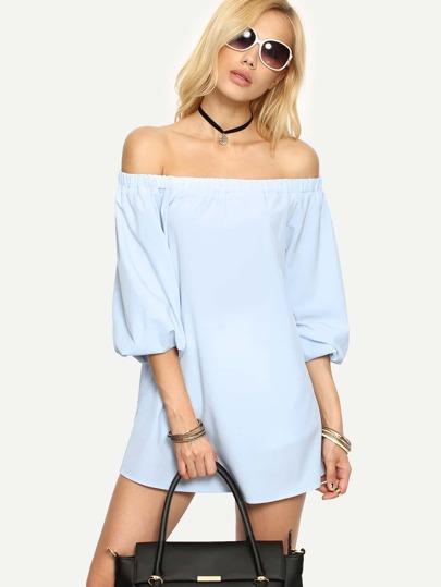 Light Blue Off The Shoulder Blouse