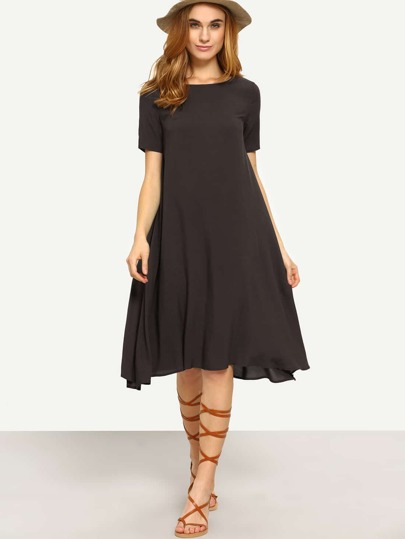 Deep Brown Short Sleeve Knee Length Shift Dress