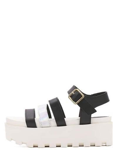 Sandale semelle compensée - Noir