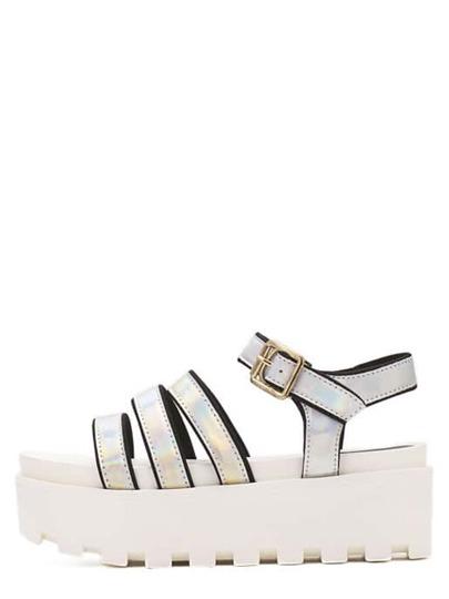 Sandale semelle compensée - argenté