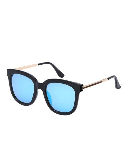 Retro Blue Lenses Oversized Square Sunglasses