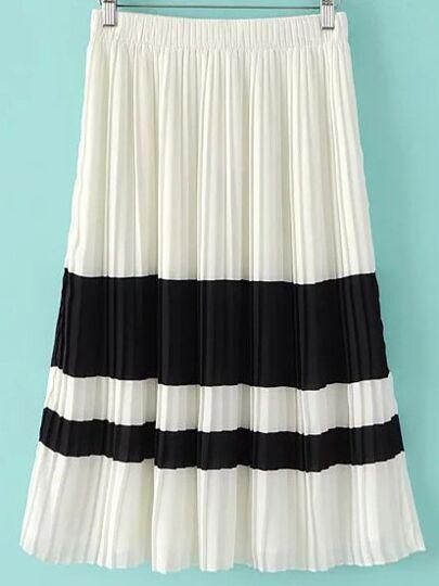 Black White Knee Length Elastic Waist Pleated Skirt